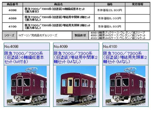 ★再生産★ GREENMAX 4099 阪急7000/7300(旧塗装)増結中間2両セット*