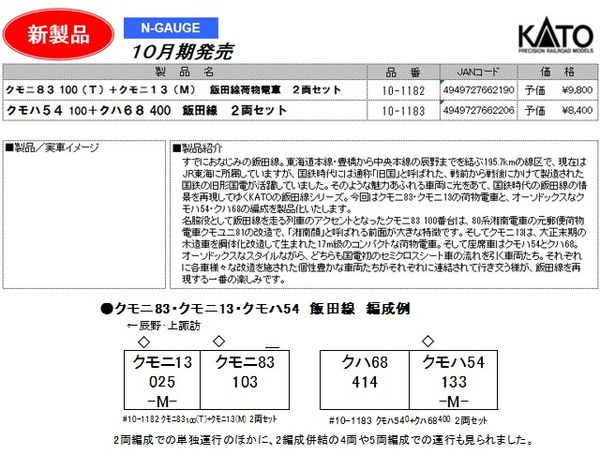 KATO 10-1182 クモニ83100(T) + クモニ13(M) 飯田線荷物電車2両セット*